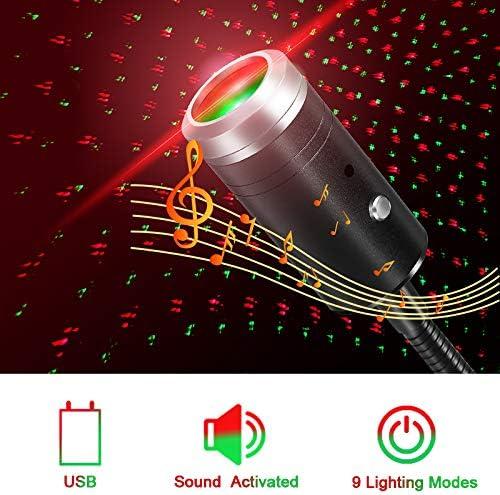 Plug and Play Rosso e Verde Luci del proiettore USB,Controllo Vocale Mini Proiettore Notturno Luci sul Tetto per Auto Interno,Camera da letto,Festa,Soffitto e Altro