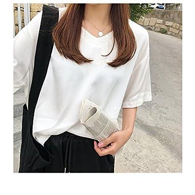 Xmy lâches de couleur solide mince V-cou à manches courtes T-shirt femme sauvage d'été big t-shirt loisirs code code sont