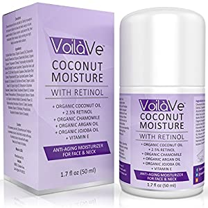 Coconut Moisture with Retinol, Organic Coconut Oil Face Moisturizer with Vitamin C, Vitamin E, Chamomile, Aloe Vera Leaf and Organic Argan Oil, Convenient Airless Pump Dispenser, 1.7 fl. oz.