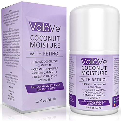 Coconut Moisture with Retinol, Organic Coconut Oil Face Moisturizer with Vitamin C, Vitamin E, Chamomile, Aloe Vera Leaf and Organic Argan Oil, Convenient Airless Pump Dispenser, 1.7 fl. oz. By Coconut Moisturizer