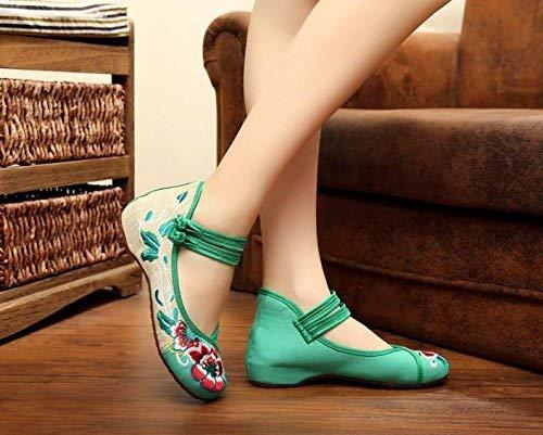 Fuxitoggo Bestickte Schuhe weibliche Sehnensohle Ethno-Stil weibliche Schuhe Stoffschuhe Mode bequem Tanzschuhe grün 37 (Farbe   - Größe   -) c05739