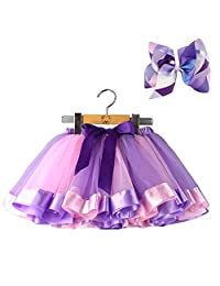 BGFKS Layered Ballet Tulle Rainbow Tutu Skirt for Little Girls