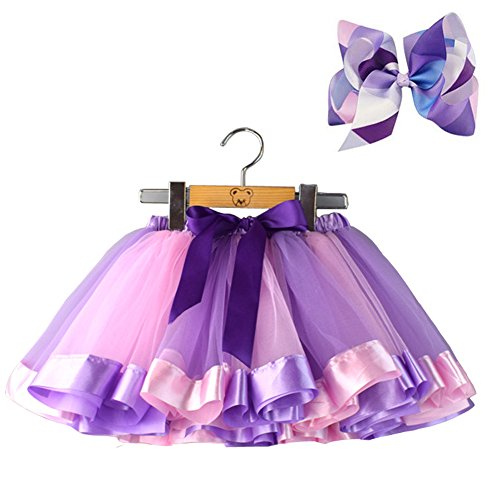 Bingoshine Layered Ballet Tulle Rainbow Tutu Skirt Little Girls Dress up Colorful Hair Bows (Purple Rainbow, M,2-4 Age)