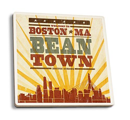 - Lantern Press Boston, Massachusetts - Skyline and Sunburst Screenprint Style (Set of 4 Ceramic Coasters - Cork-Backed, Absorbent)