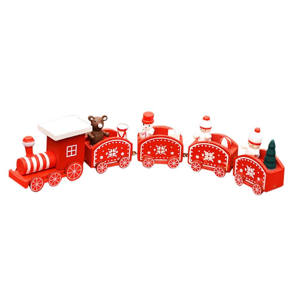 Jaysis♔ the Tank Engine Wooden Train Toy, christmas party train toys christmas decorations♔Christmas Decorations Christmas Woods Small Train Children Kindergarten Festive