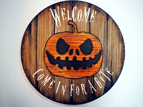 Personalized Sign | Halloween Decorations | Handmade, wooden sign inspired by vintage, wine barrel tops | Your customized message, hand painted on a rustic decor sign with a carved Halloween Pumpkin]()