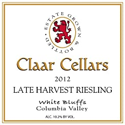 2012 Claar Cellars Late Harvest Riesling Estate Columbia Valley Washington 750ml