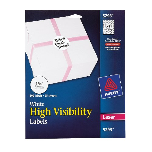 Avery High Visibility 1-2/3 Inch Diameter White Labels 600 Pack (5293) (Avery Programs)