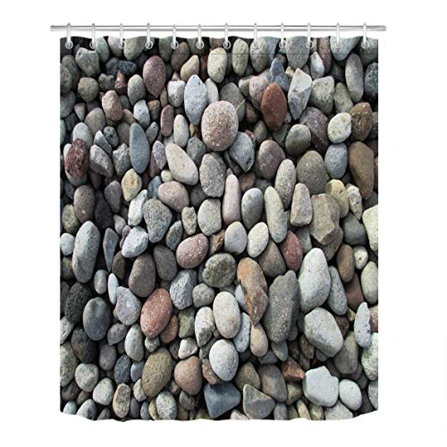 (LB River Bed Gravel Stones Pattern Shower Curtain Set for Bathroom, Natural Rock Texture Design House Decor, 70 W x 70 L Polyester Fabric Shower Curtain Waterproof)