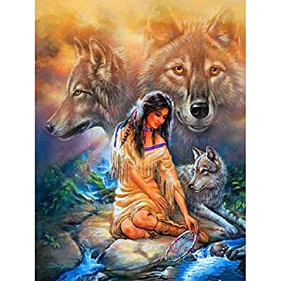 Paint by Number Kits - Native American Lady and Wolves 16x20 Inch Linen Canvas Paintworks - Digital Oil Painting Canvas Kits for Adults Children Kids Decorations Gifts (with Frame)