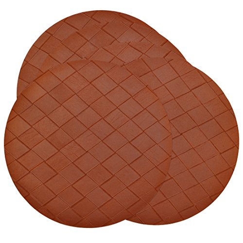 Sweet Pea Linens Set of 5 - Brick Leather Look Vinyl Wipe Clean Charger-Center Round Placemat
