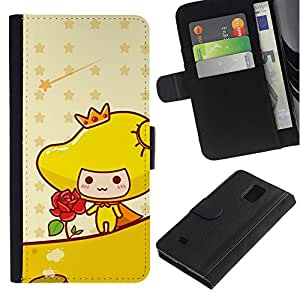 LASTONE PHONE CASE / Lujo Billetera de Cuero Caso del tirón Titular de la tarjeta Flip Carcasa Funda para Samsung Galaxy Note 4 SM-N910 / Cute Princess Rose