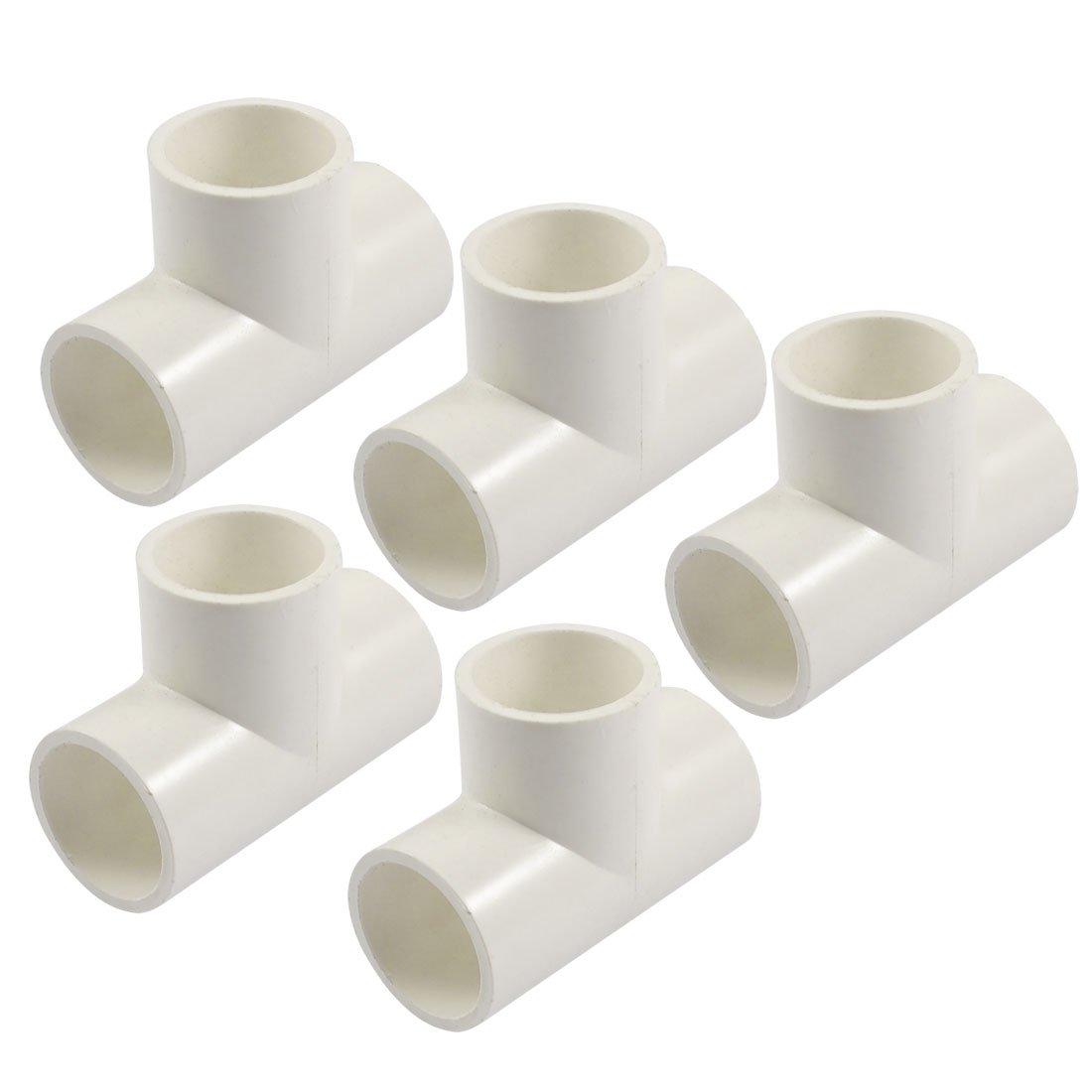 Sourcingmap PVC de 25mm T 3way agua Pipe Tubo Adaptador Conectores Blanco 5pcs