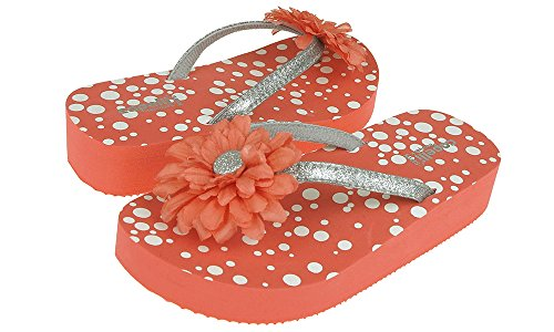 Capelli New York Glitter thong with flower on polkadot print Girls flip flops Coral Combo 1/2