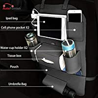 Autofurnish PU Leather 3D Car Back Seat Multi Pocket Storage Organizer Holder (Black)