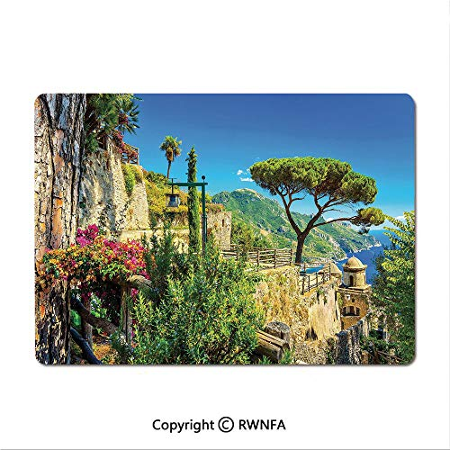 Gaming Mouse pad,Mediterranean Cute Stone Made Village with Trees Blossoms Flower Mountain and Sea(8.3