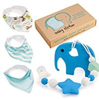 Baby Shower Gifts For Boys - Teether Pacifier Clip & Elephant Teething Toy Un...