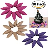ROSENICE 30pcs Backflow Incense Cones Bullet Incense Cones Rose Lavender Sandlewood Incense