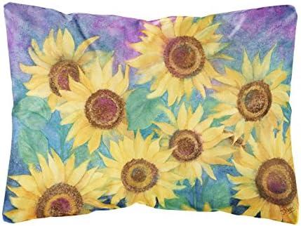 Caroline's Treasures IBD0247PW1216 Sunflowers and Purple Fabric Decorative Pillow