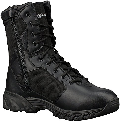 Wide Width Tall Boot - Smith & Wesson Footwear Men's Breach 2.0 Tactical Size Zip Boots, Black, 9.5W