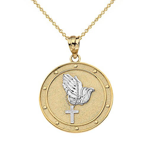 Solid 14k Two-Tone Gold Praying Hands with Rosary Cross Medallion Pendant Necklace, 16