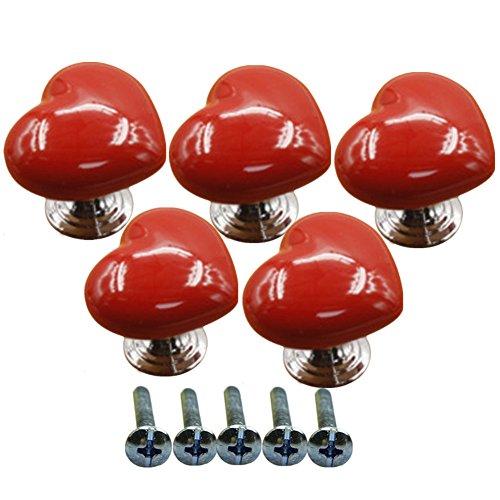 Ltvystore 5Pack Red Ceramic Heart Cabinet Knobs,Drawer Pulls & Handles Set,Ceramic Heart Shape Knobs for Door Dresser Drawer Cupboard Baby Kid