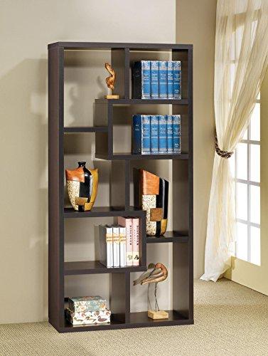 - Asymmetrical Cube 8-shelf Bookcase Cappuccino