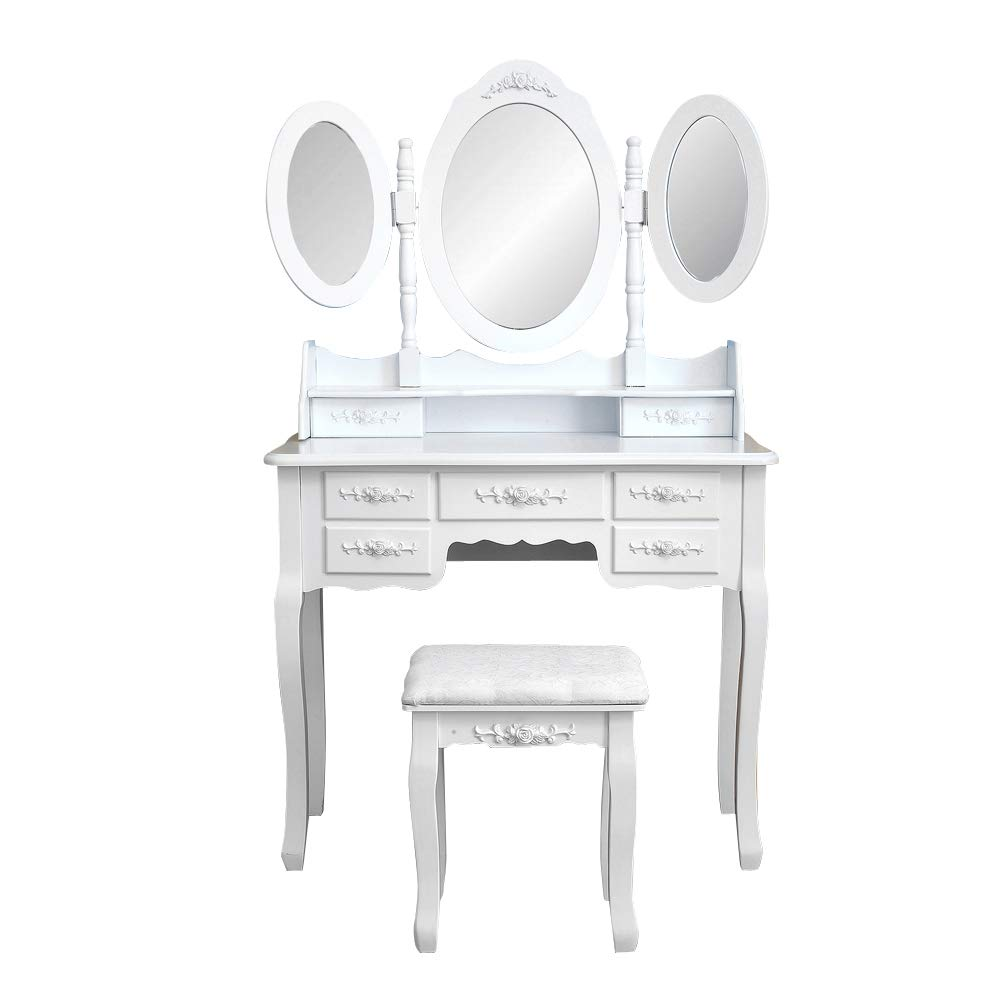 Aukfa Modern Vanity Set Concise Makeup Desk Foldable 3 Mirrors with 7 Drawers 360-Degree Rotation Removable Mirror Dressing Table for Bedroom Large Storage Dresser for Girls Women
