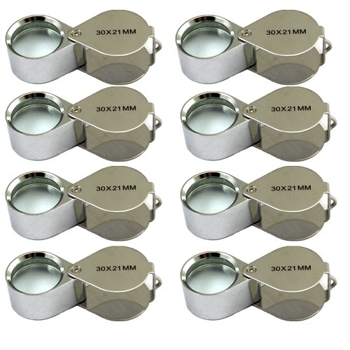 (8 Pcs Mini 30X 21mm Jeweler Jeweler's Jewelry Loupe Magnifier Magnifying Glass Silver w/ Box)