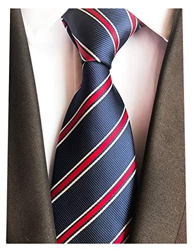 MINDENG New Navy Red Striped Silk Woven Check Men's Tie Necktie Korea Style Ties (Necktie Navy Silk Striped)
