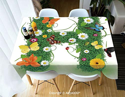 (AngelDOU Waterproof Stain Resistant Lightweight Table Cover Ornamental H with Summer Effects and Dahlia Ladybug Daisy Initials Artsy Concept for Camping Picnic Rectangular Table Cl,W60xL104(inch))