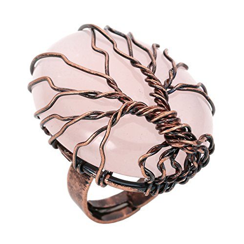 - CrystalTears Vintage Bronze Family Tree of Life Ring Birthstone Rose Crystal Wire Wrap Oval Gemstone Healing Ring Gift for Women Jewelry, Adjustable