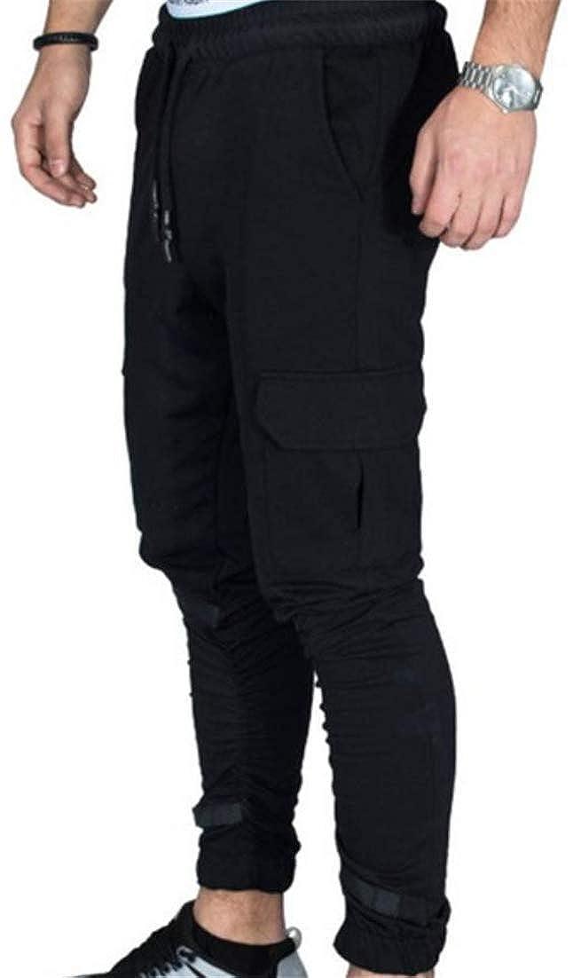 Pcutrone Men Training Casual Sports Multi Pocket Joggers Elastic Waist Mid Waist Camouflage Pants