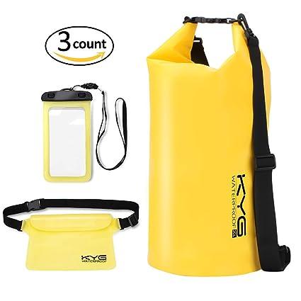 Premium bolsa estanca 20L impermeable seca PVC- Set de bolsa waterproof con funda táctil de móvil y bolsa cintura para playa y deportes al ...