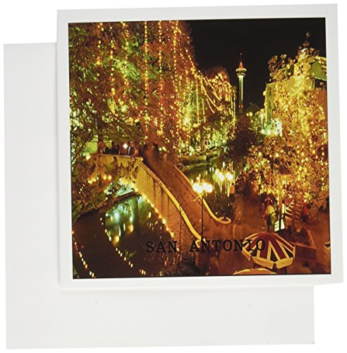 3dRose Beautiful San Antonio Riverwalk At Night - Greeting Cards, 6 x 6 inches, set of 12 (gc_62235_2)
