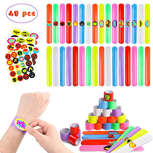 Diy Slap Bracelets (PANTIDE DIY Superhero Slap Bracelets Party Favor with Superhero Stickers for Kids Boys&Girls Birthday Party Supplies Birthday Gifts Class Prizes-48)