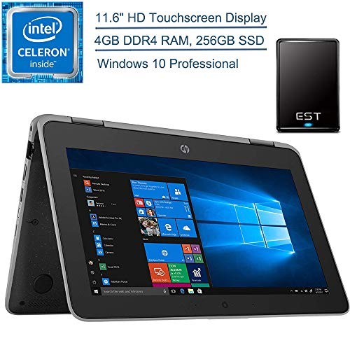 2020 HP ProBook x360 11.6″ 2-in-1 LED Touchscreen Business Laptop Computer, Intel Quad-Core Celeron N4100 Up to 2.4 GHz, 4GB DDR4, 256GB SSD, Windows 10 Professional + EST 500GB External Hard Drive