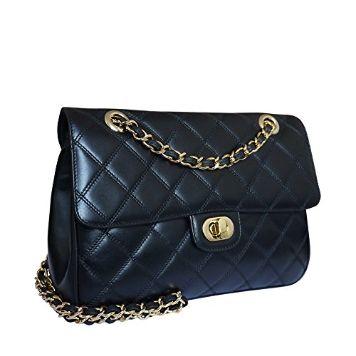 Carbotti Designer Quilted Leather Shoulder Handbag Celebrity Bag Wedding Bag Black by Carbotti
