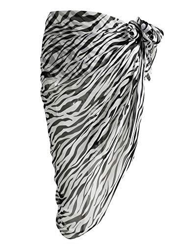 (CHIC DIARY Women Chiffon Pareo Beach Wrap Sarong Swimsuit Scarf Cover Up for Vacation (Zebra Pattern))