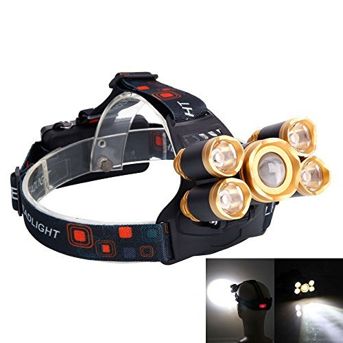 80000LM 5-LED Zoom LED Rechargeable 18650 Headlamp Head Light Torch Charger US by Head Lamp