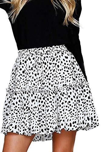 (Alelly Women's Summer Cute High Waist Ruffle Skirt Floral Print Swing Beach Mini Skirt)