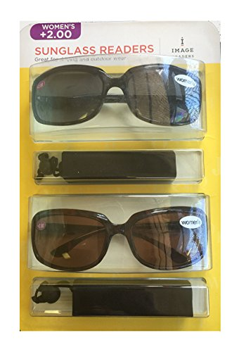 Image Readers Womens 2 Pack Trendy Frame Reading Sunglasses Glasses Block Out Ray UV and Gamma w/ +2.00 Magnification Viewing Pleasure Black Brown W/ Carry Pouch Driving Outdoor Safe Curved - Of Images Sunglasses