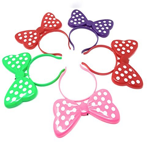 12 pc Light Up LED Minnie Mouse Ears and Polka Dot Bows Headbands (color may vary)
