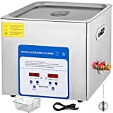 Mophorn 10L Professional Ultrasonic Cleaner 490W 304&316 Stainless Steel Digital Lab Ultrasonic Cleaner with Heater Timer for Jewelry Watch Glasses Circuit Board Dentures Small Parts Dental Instrument