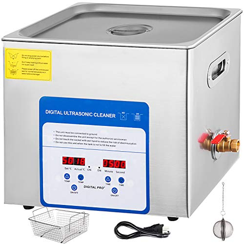 Mophorn 10L Professional Ultrasonic Cleaner 490W 304&316 Stainless Steel Digital Lab Ultrasonic Cleaner with Heater Timer for Jewelry Watch Glasses Circuit Board Dentures Small Parts Dental Instrument ()