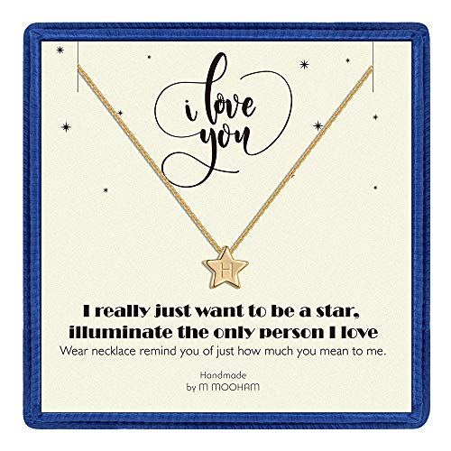 M MOOHAM Initial H Necklace Gifts for Women - 14K Gold Filled Star Initial Necklace, Tiny Initial Necklace for Girls Kids Children, Star Initial Necklace Jewelry Wedding Gifts