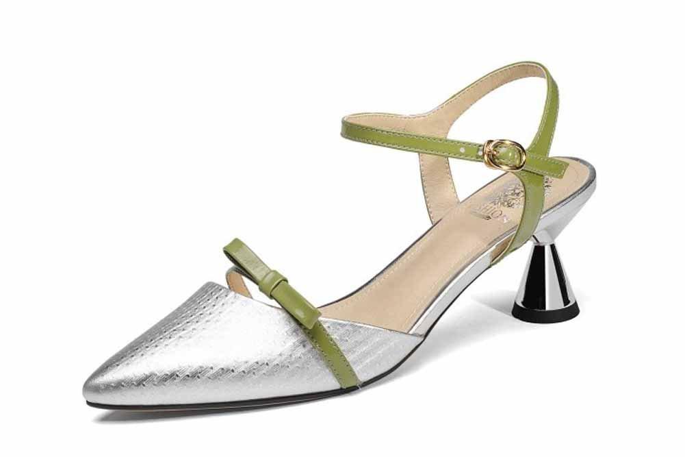 Onfly New Frauen Spitz Sandalen 2018 Sommer Neue Metall Rindsleder Vergoldete High Heel Echtes Leder Knouml;chelriemen Pumpen eu size  39|Silber