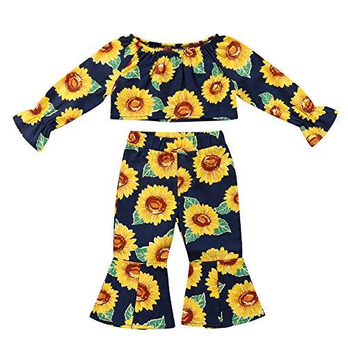 ZODOF Conjunto de Moda Infantil de Girasol Tops con Estampado de Girasol de Mangas largas para niños pequeños bebés + Conjuntos de Pantalones Sueltos: ...