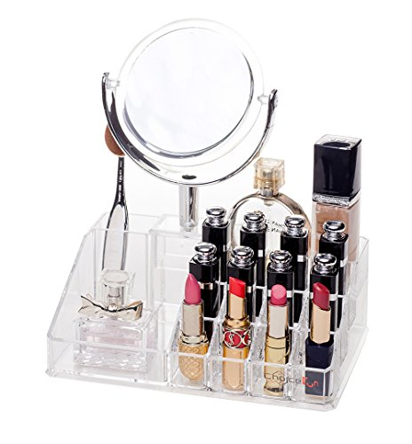 Choice Fun Acrylic Vanity Tray and Makeup Organizer with Mirror
