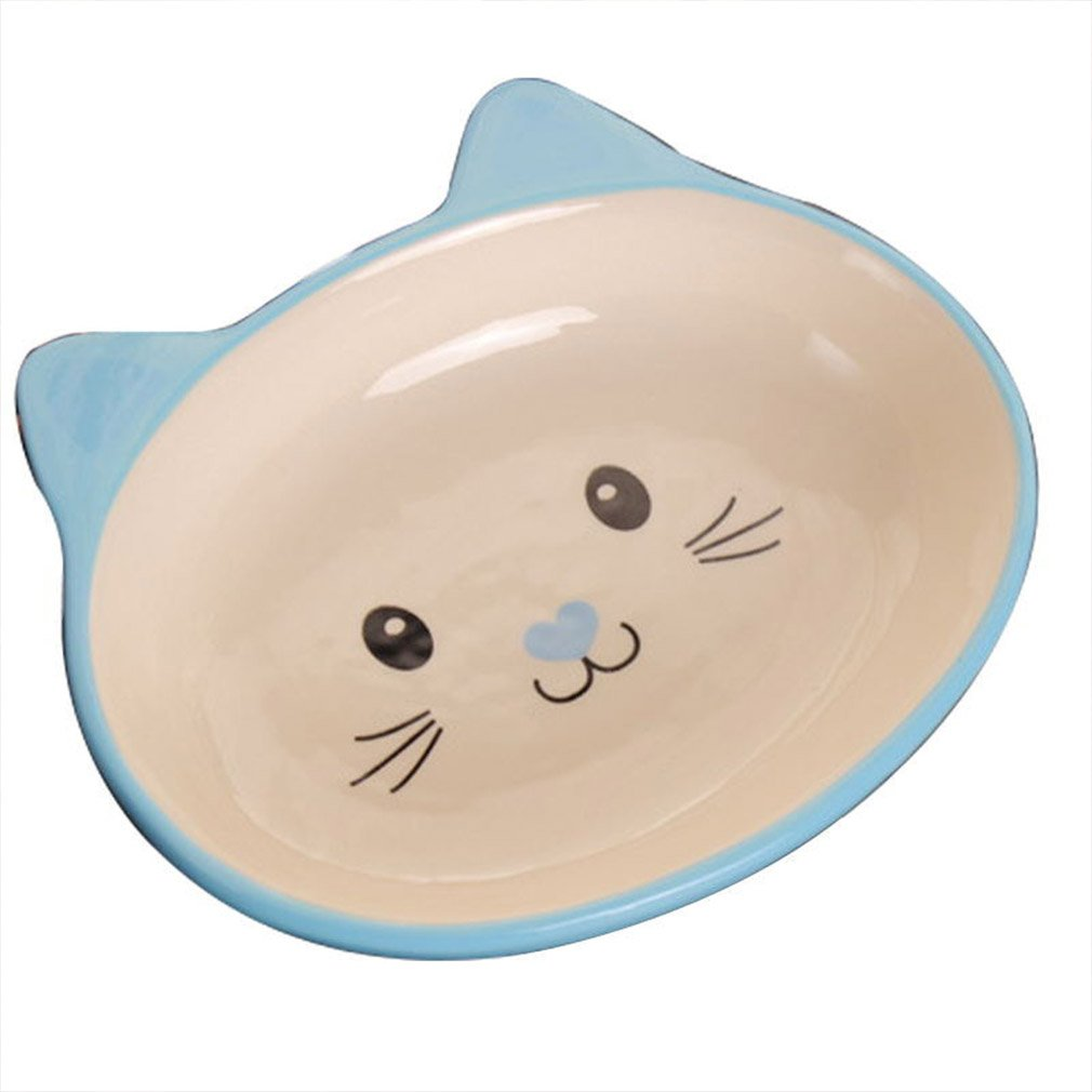bluee Pet Ceramic Bowl Dog Bowl Cat Cutlery Puppy Kitten Food Bowl (color   bluee)